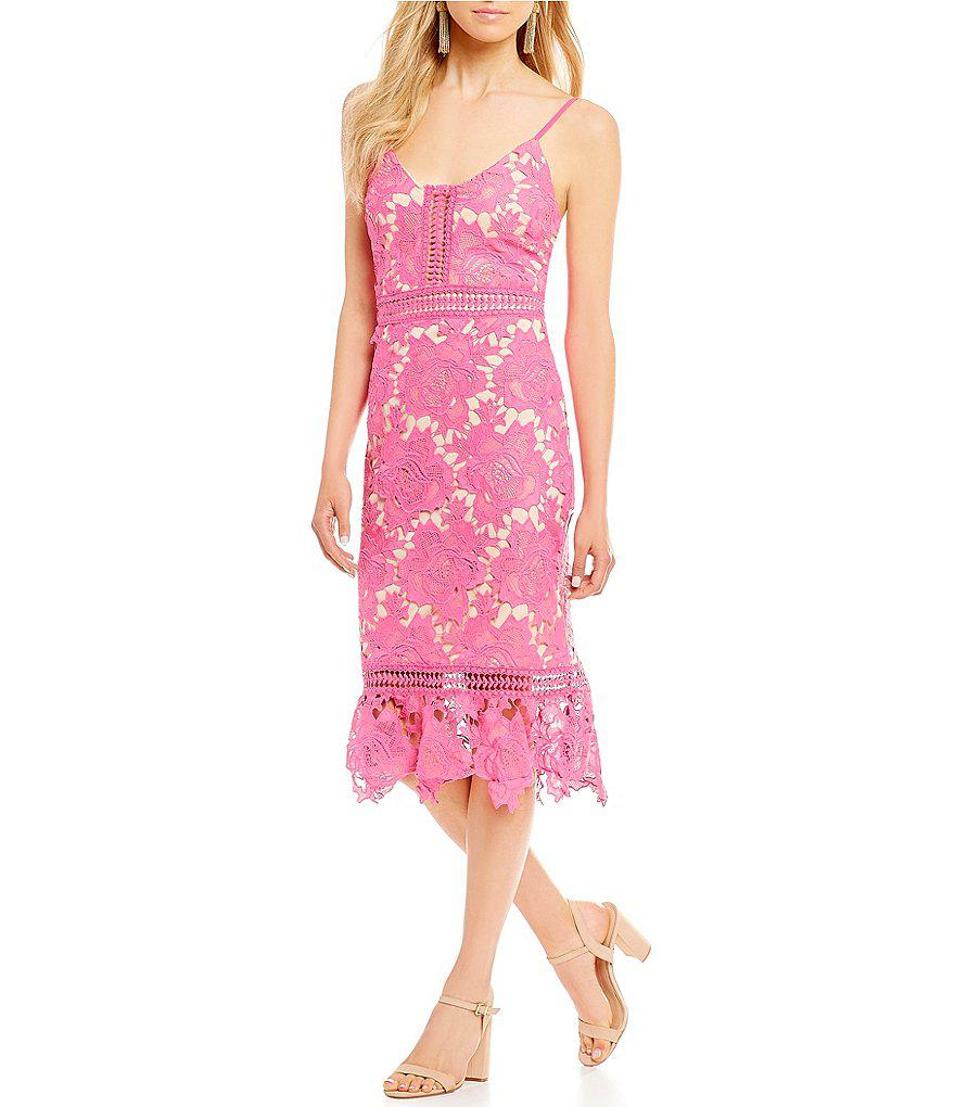 0294f41f3f Gianni Bini Camilla Lace Midi Dress in Pink - Lyst
