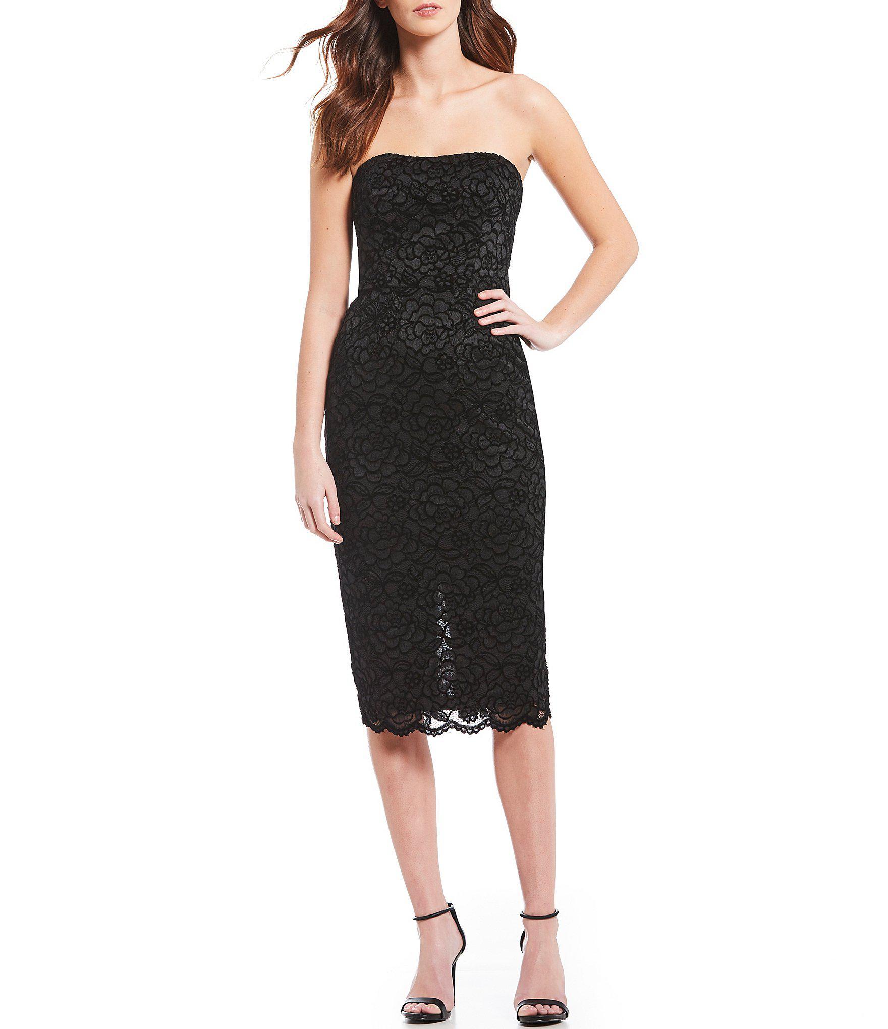 b2e5ea9044f8e Dress the Population Claire Shimmering Lace Strapless Midi Dress in ...