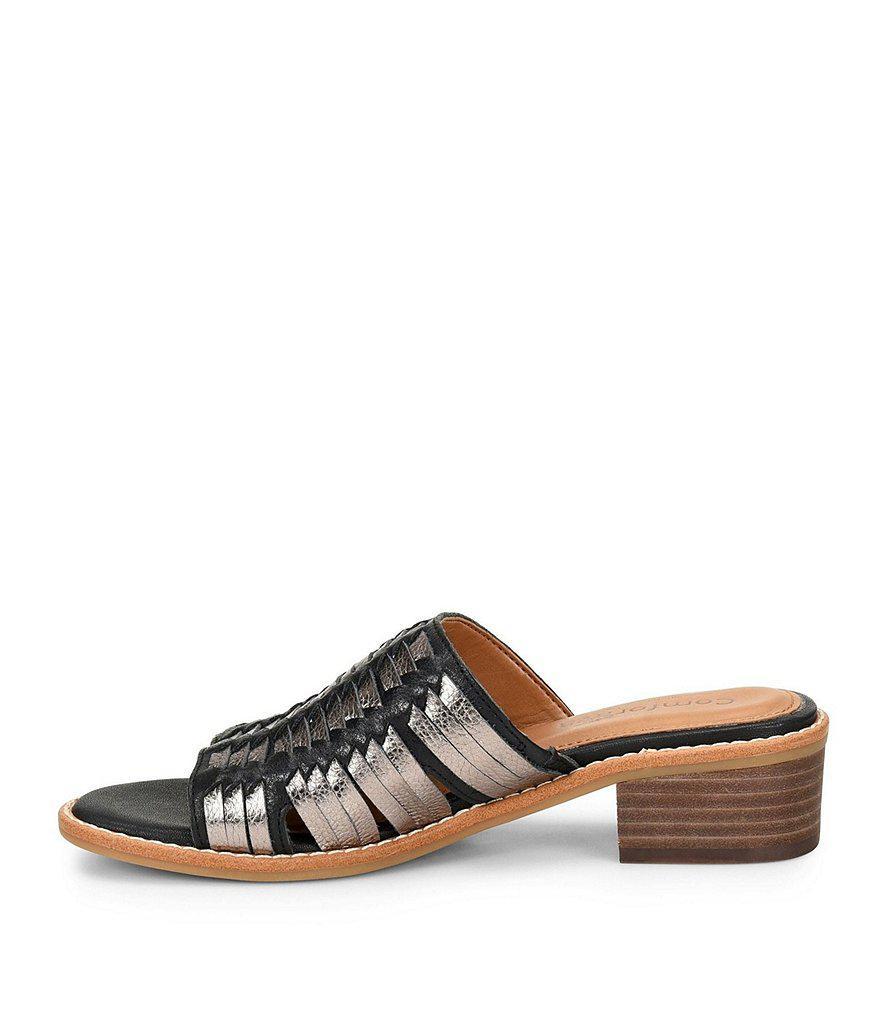 d28cae561a4a Lyst - Comfortiva Brileigh Huarache Block Heel Slides in Black