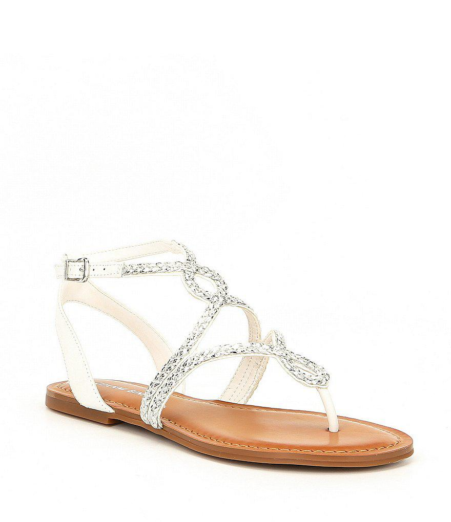 cef3a24d4353 Lyst - Gianni Bini Teenuh Lizard Metallic Braided Flat Sandals