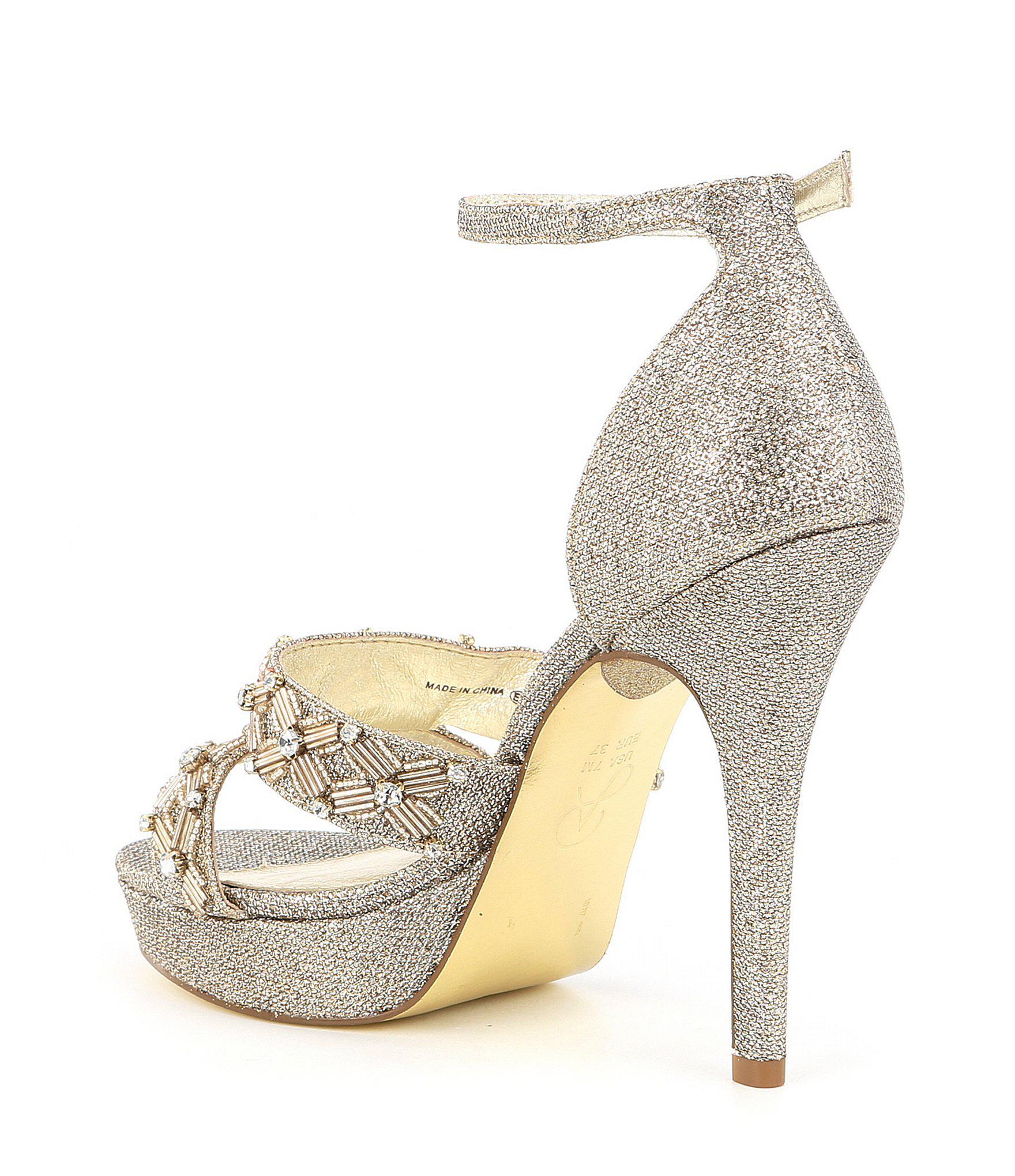 e35e9d6b58a Adrianna Papell - Marietta Metallic Jeweled Ankle Strap Platform Dress  Sandals - Lyst. View fullscreen