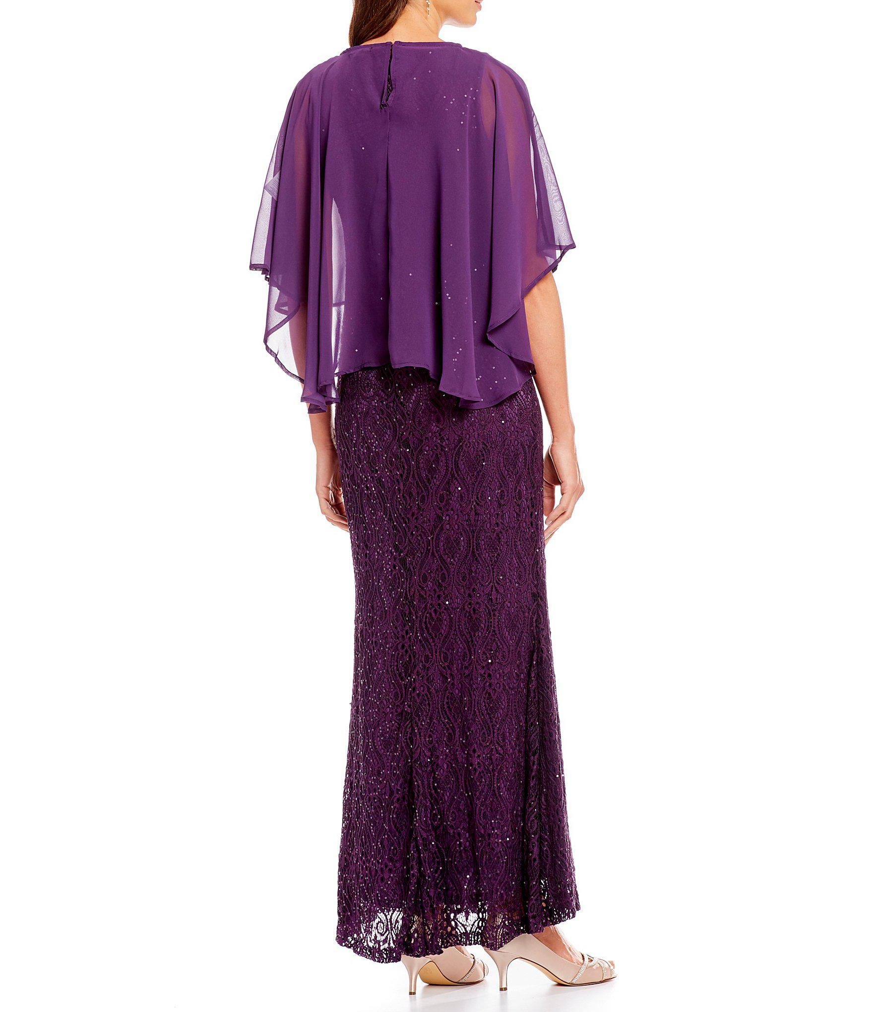 649be66b1cc5 Marina Chiffon Capelet Lace Long Gown in Purple - Lyst