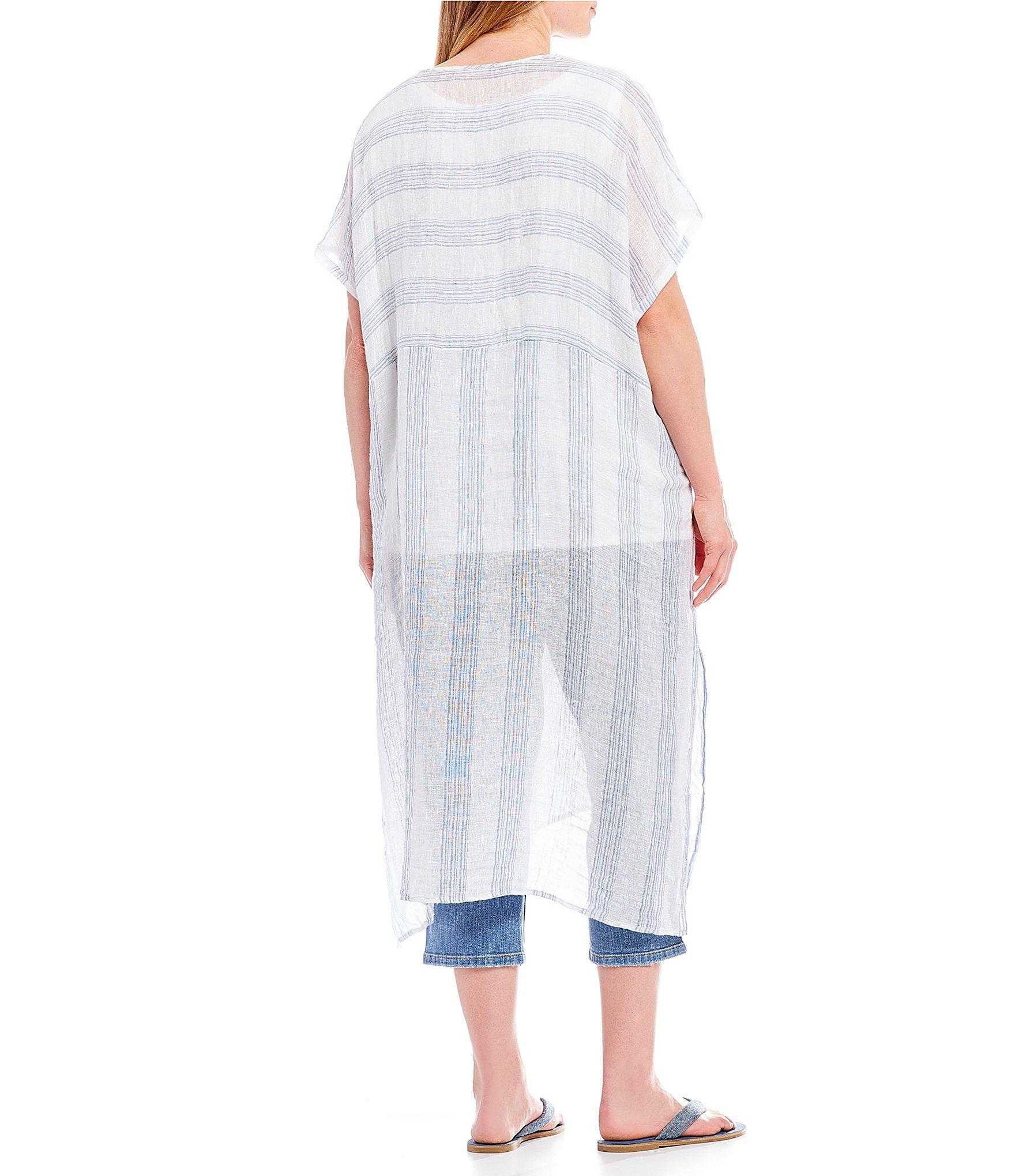 19ba9078a26 Lyst - Eileen Fisher Plus Size V-neck Short Sleeve Stripe Tunic ...