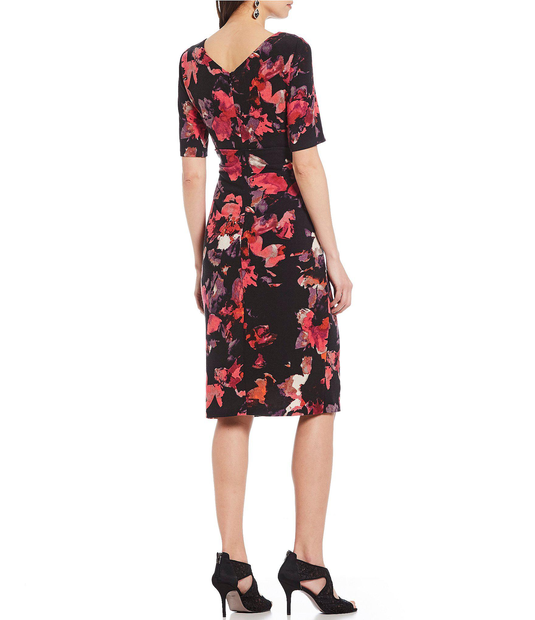 4d1f4d0797a Adrianna Papell - Red Cowl Neck Floral Print Knit Sheath Dress - Lyst. View  fullscreen