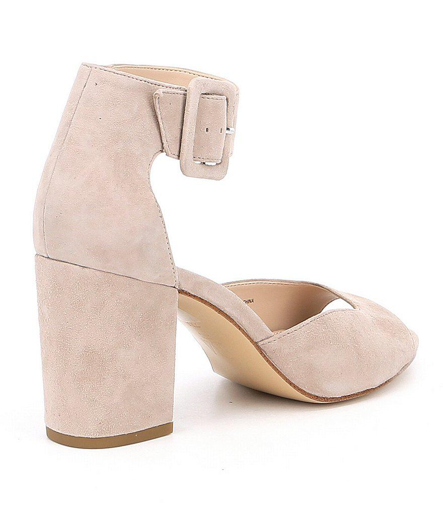 Bijou Suede Ankle Strap Block Heel Dress Sandals 9gG5J8l7
