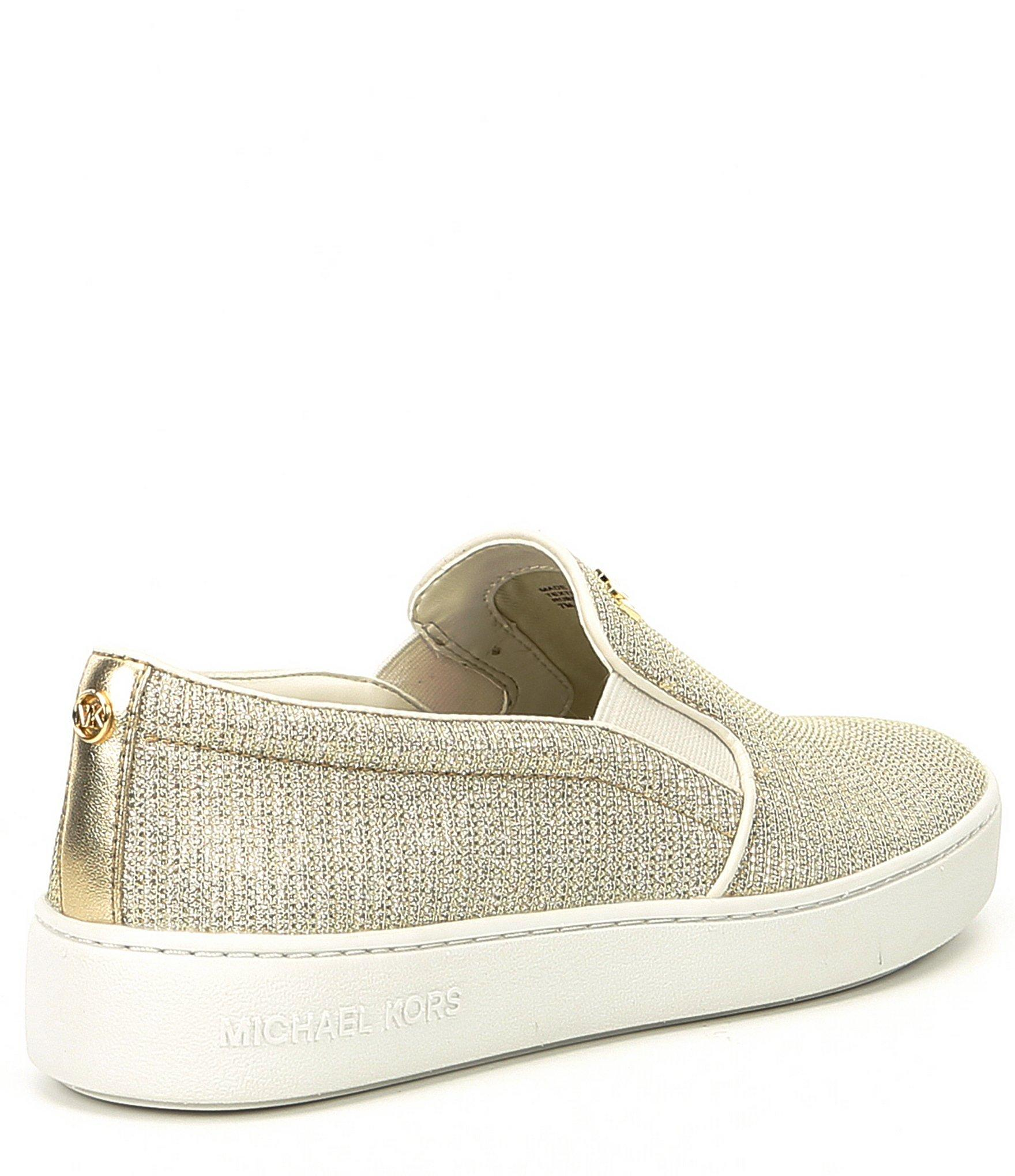 69006aee91c8 MICHAEL Michael Kors - White Keaton Glitter Fabric Slip On Sneakers - Lyst.  View fullscreen