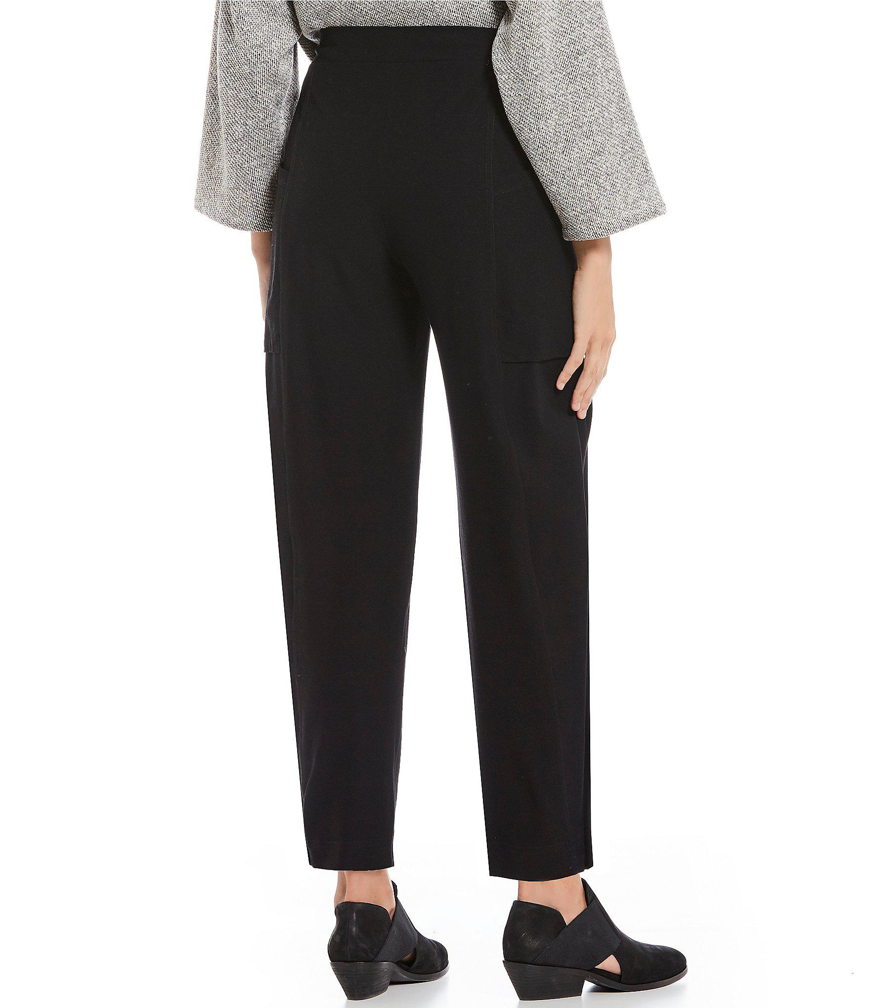 5653fae5e30 Eileen Fisher - Black Petite Size Pull-on Ankle Pants - Lyst. View  fullscreen