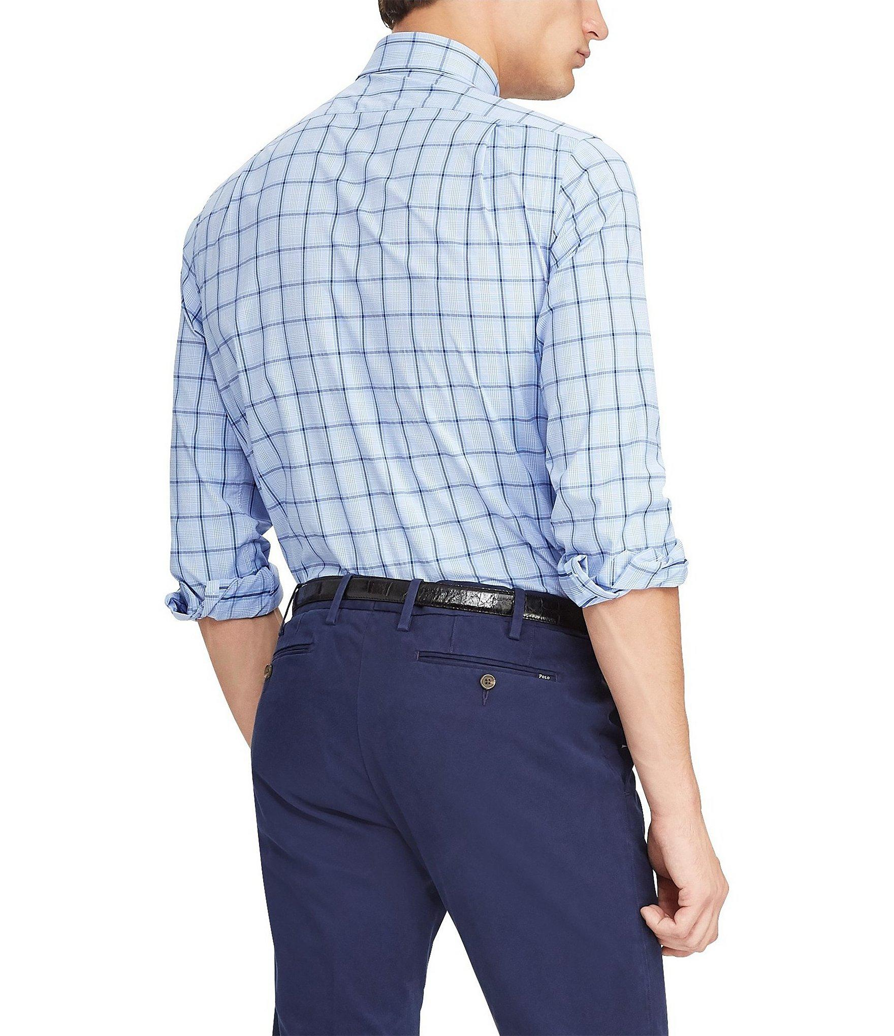 6ad14f4c39f3 Polo Ralph Lauren - Blue Large Check Performance Twill Long-sleeve Woven  Shirt for Men. View fullscreen
