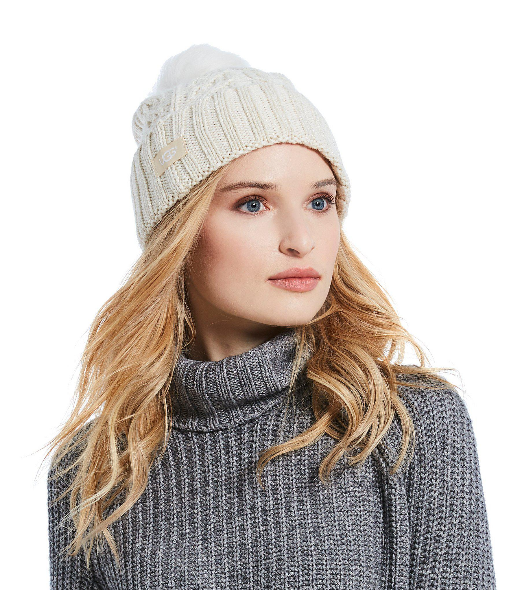 0dd5f413f326d Lyst - UGG Ladies  Cable Pom Beanie in White