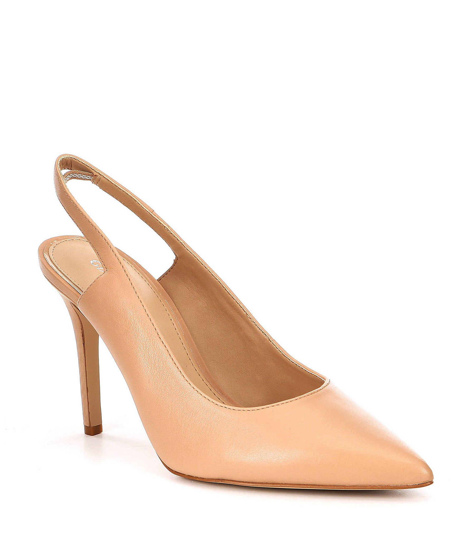 013e8fafe1a3 Lyst - Gianni Bini Latessa Slingback Leather Pumps in Natural