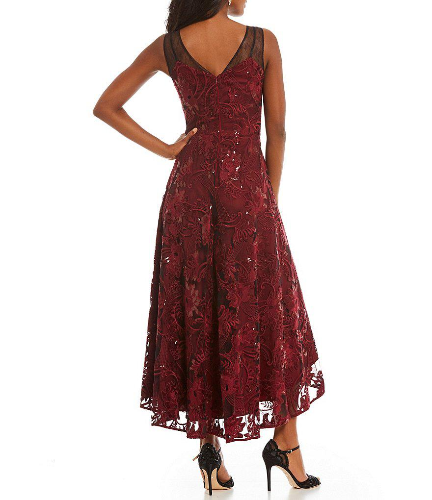 38164d6bc54 Belle By Badgley Mischka Tess Lace High Low Dress in Red - Lyst