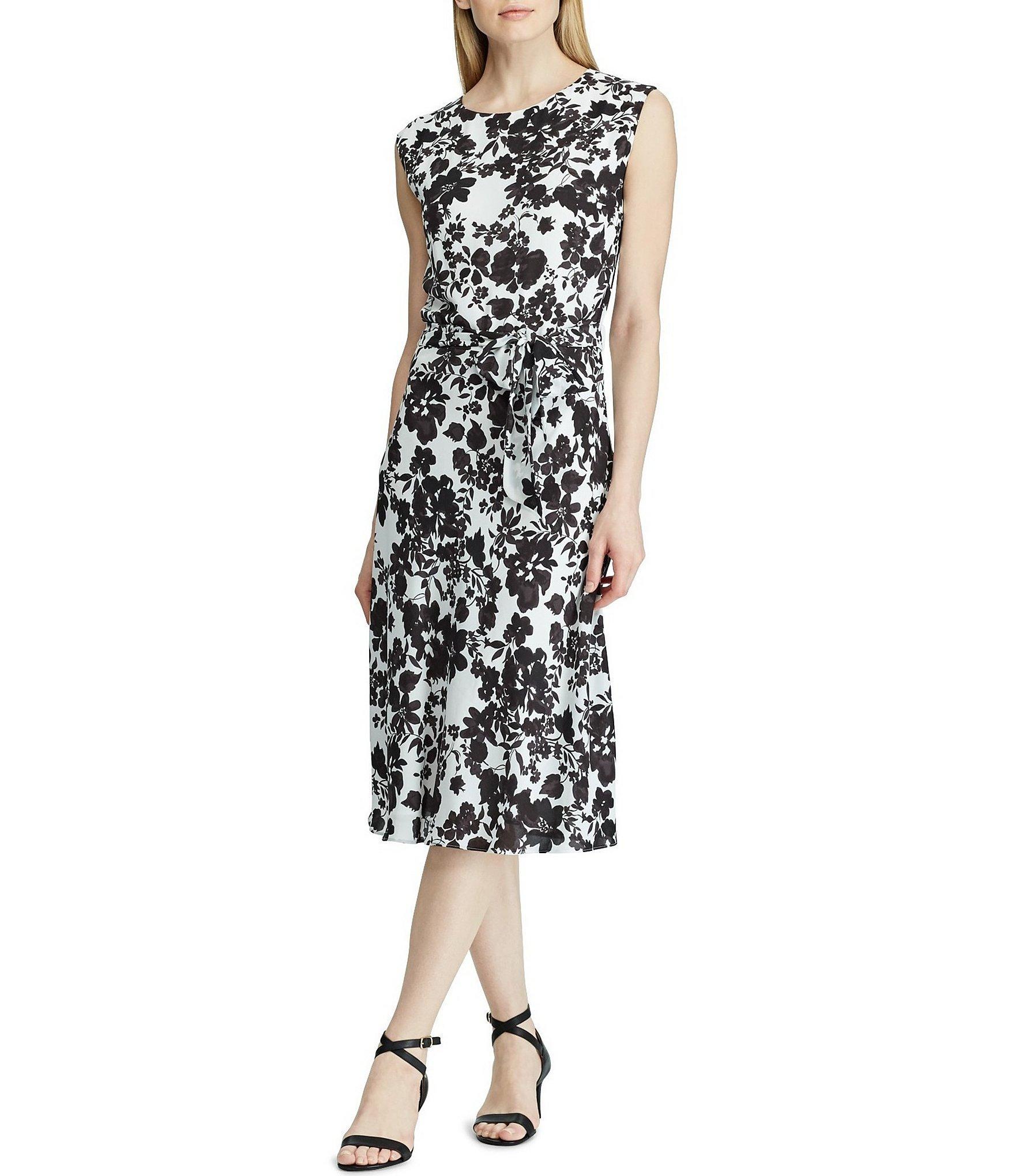 b2c4efb0d73 Lauren by Ralph Lauren. Women s Black Monotone Floral Print Sleeveless  Georgette Midi Dress