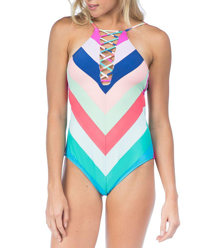 043cd311bc Hobie Island Vibin' Lace-up High Neck One-piece Swimsuit in Blue - Lyst
