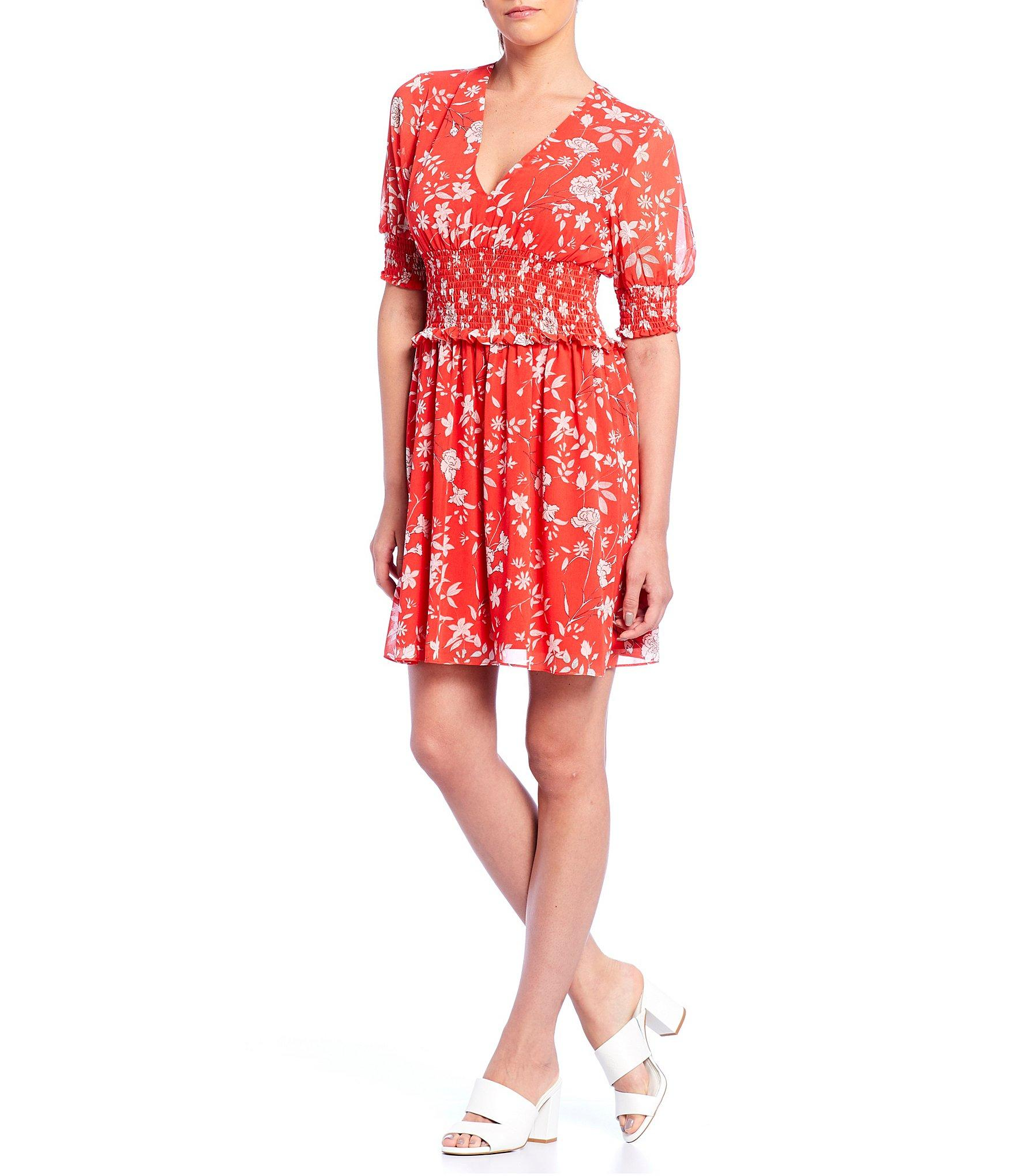 9635bde86d Lyst - Gianni Bini Callie Floral Print Smocked Dress in Red