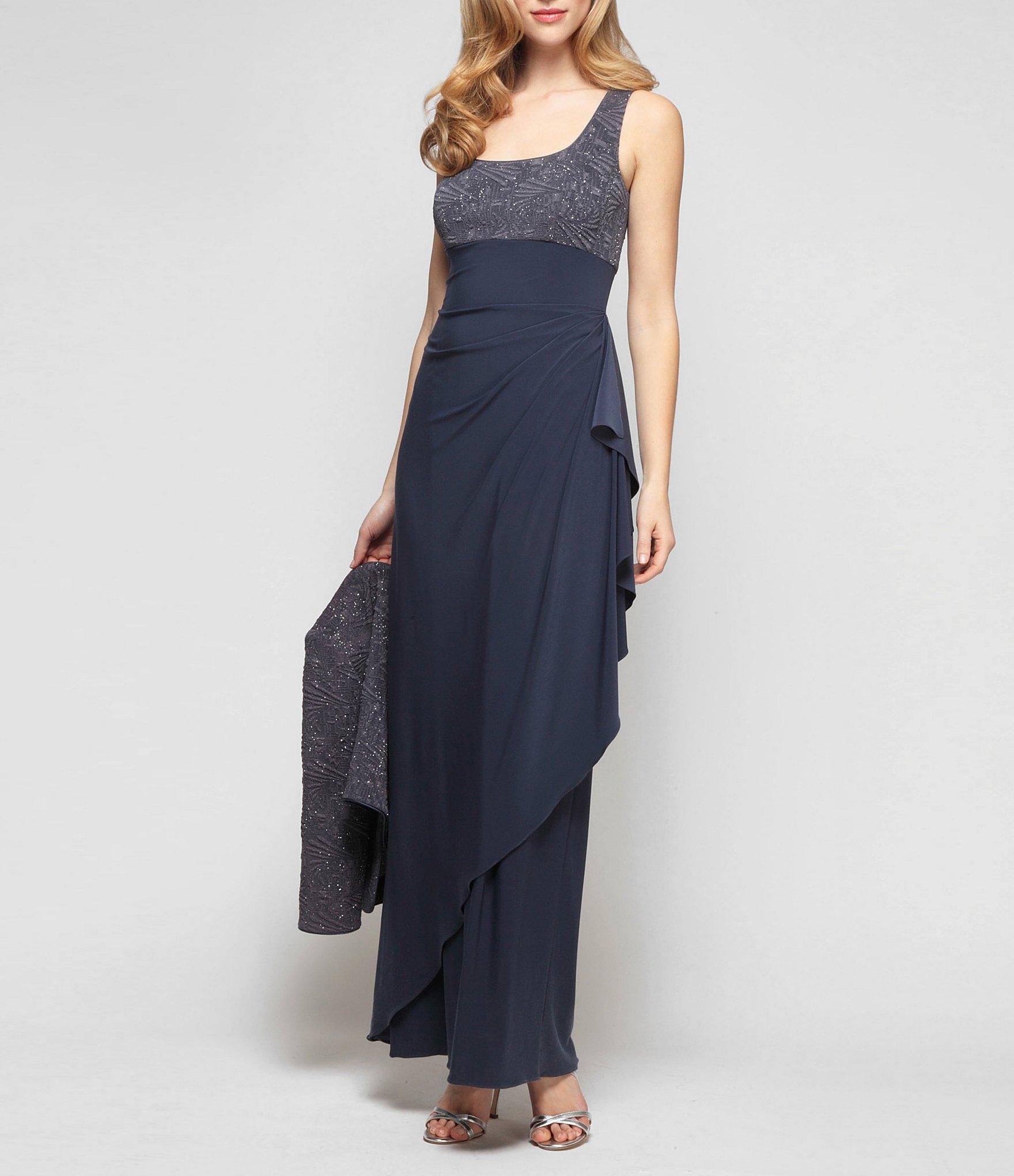bad75a9cee45e Alex Evenings - Blue Ruched 2-piece Glitter Jacket Dress - Lyst. View  fullscreen
