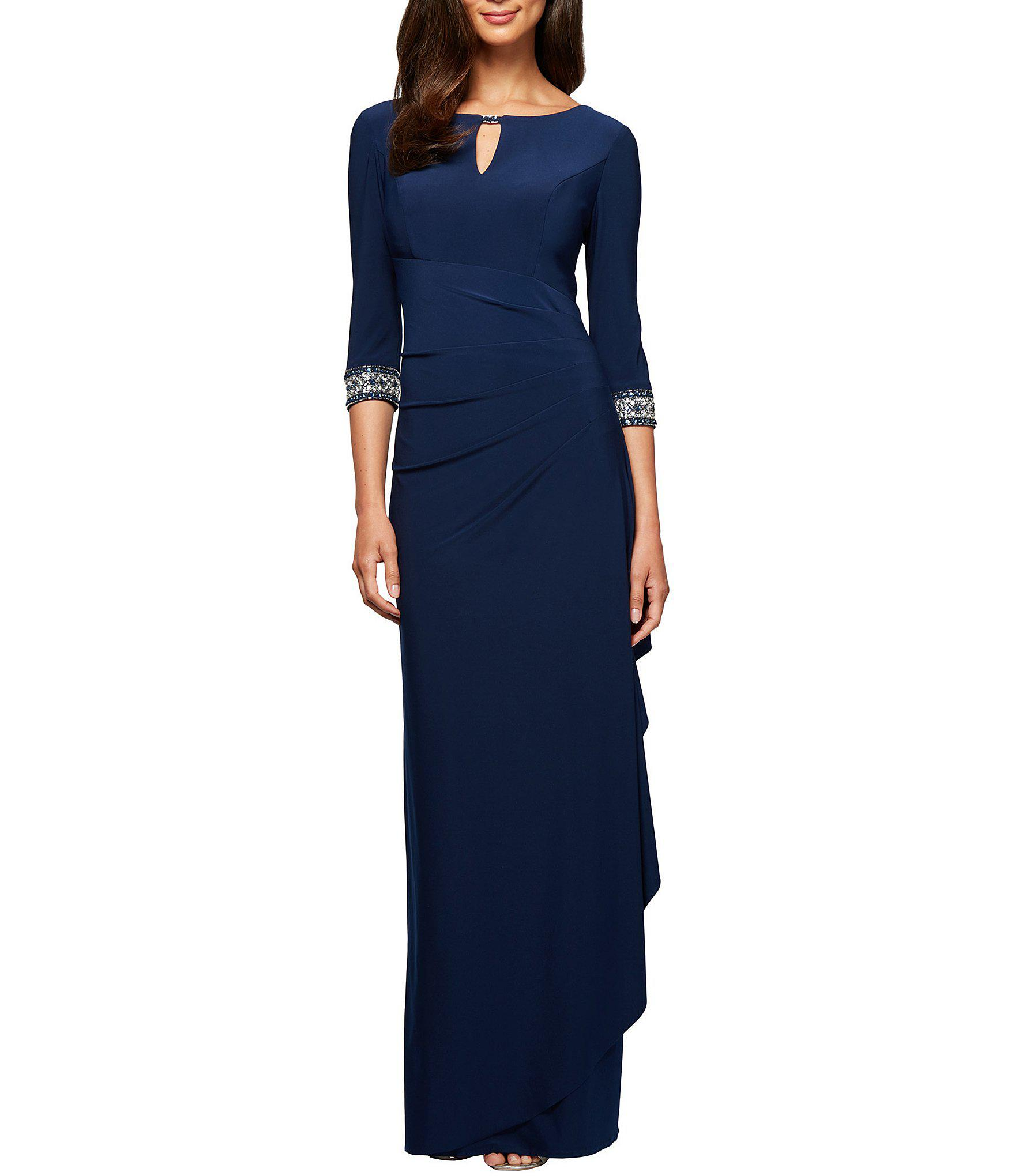 e180f9762483f Alex Evenings. Women s Blue Petite Size Side Ruched Embellished Cuff Gown
