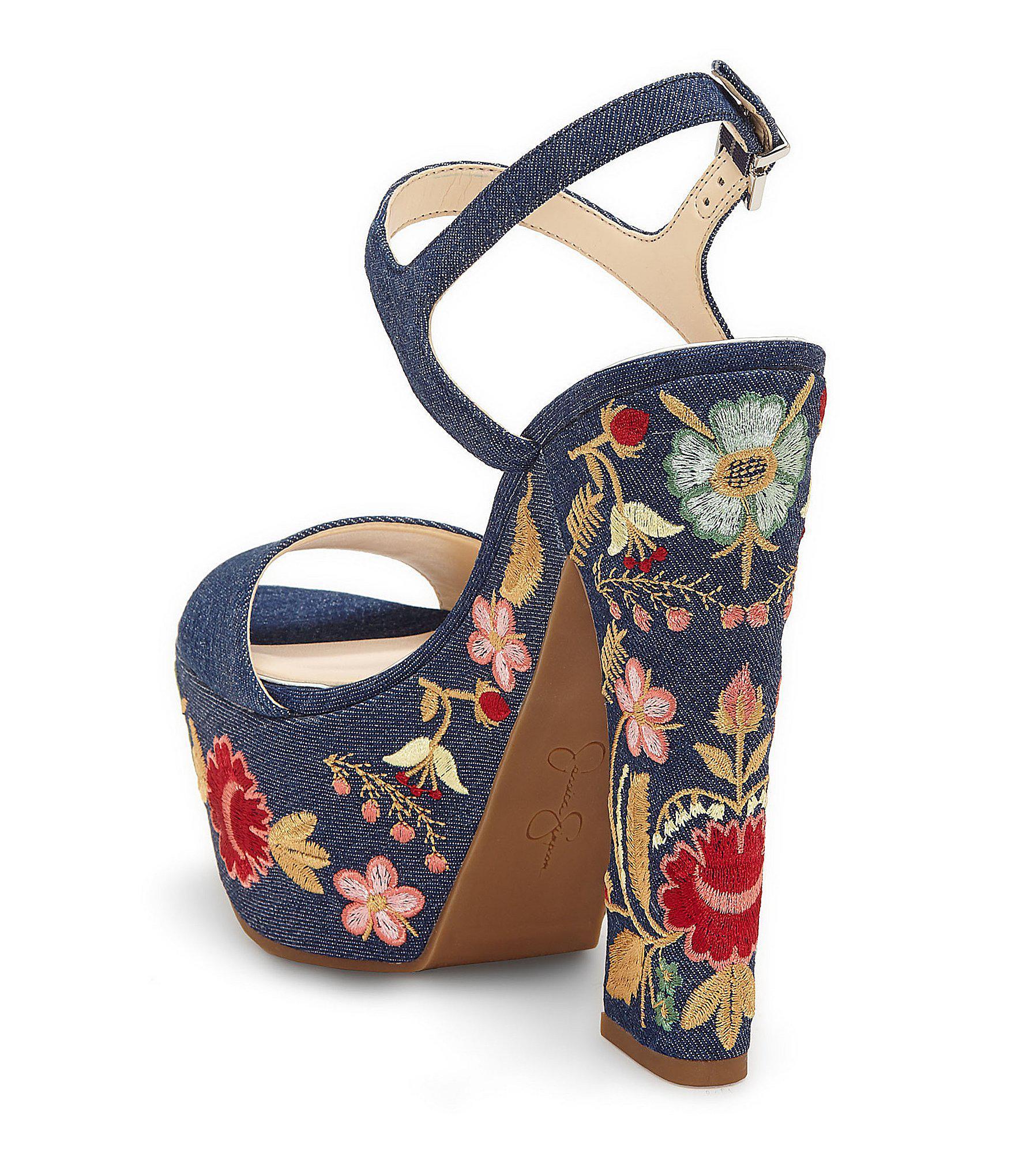 8c5ffc2b6d3 Lyst - Jessica Simpson Divella2 Denim Floral Platform Sandal in Blue