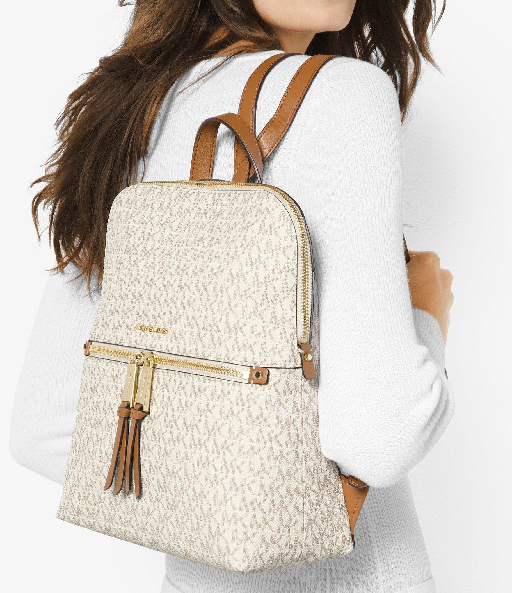 Lyst - MICHAEL Michael Kors Rhea Signature Zip Slim Backpack b728072b65ee1