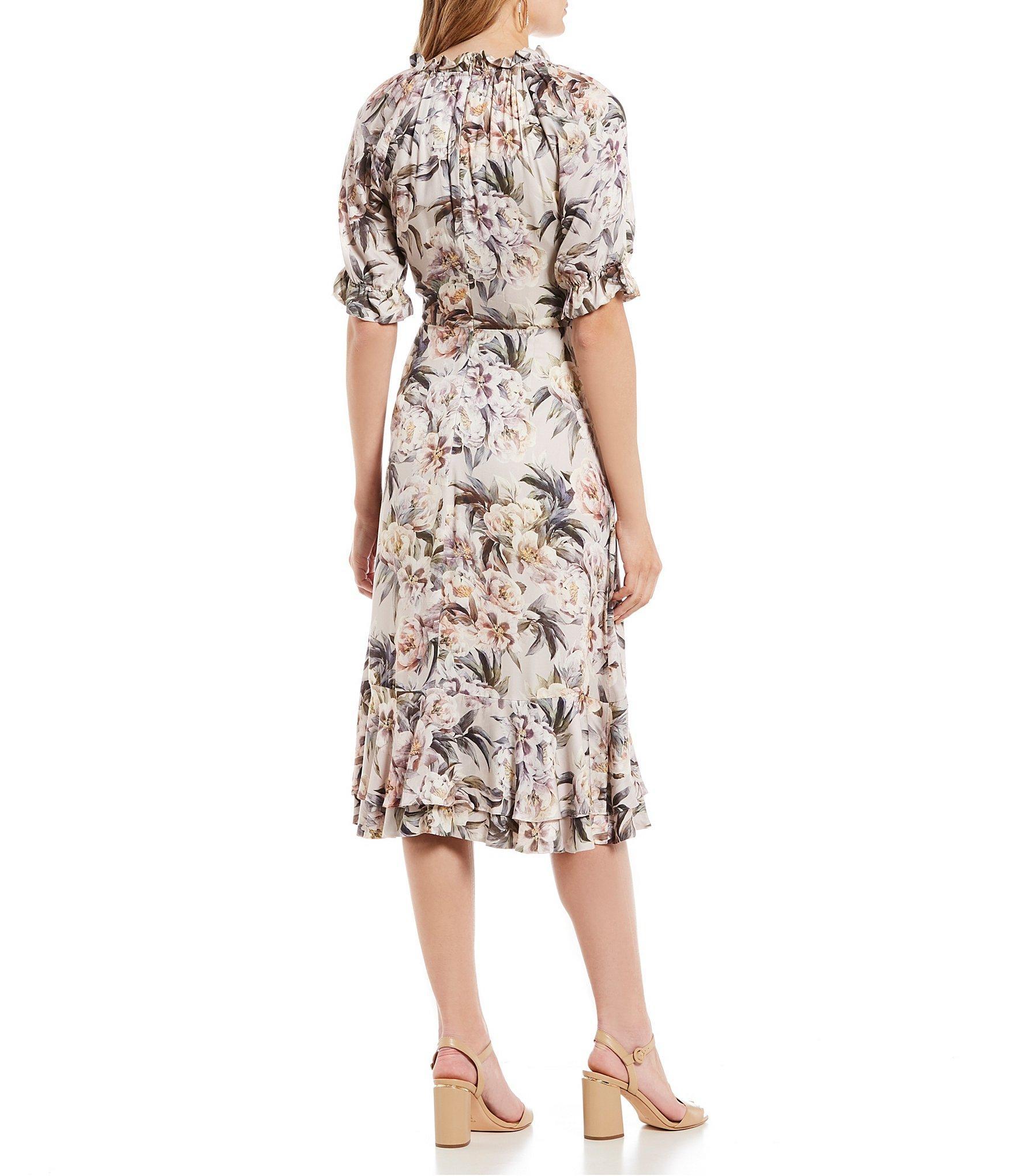 a357d2a121ab Antonio Melani - Multicolor Rosa Short Sleeve Surplice V-neck Wrap Ruffle  Hem Midi Dress. View fullscreen