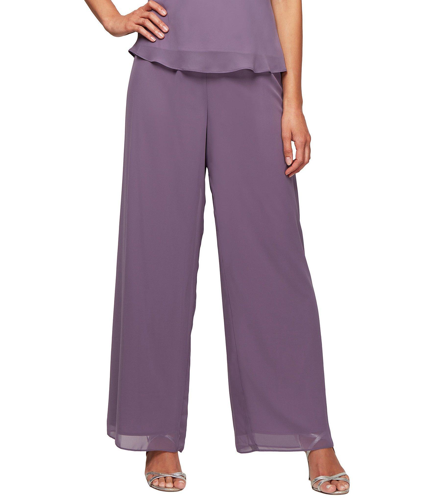 324eeeea329 Lyst - Alex Evenings Wide Leg Chiffon Pant in Purple
