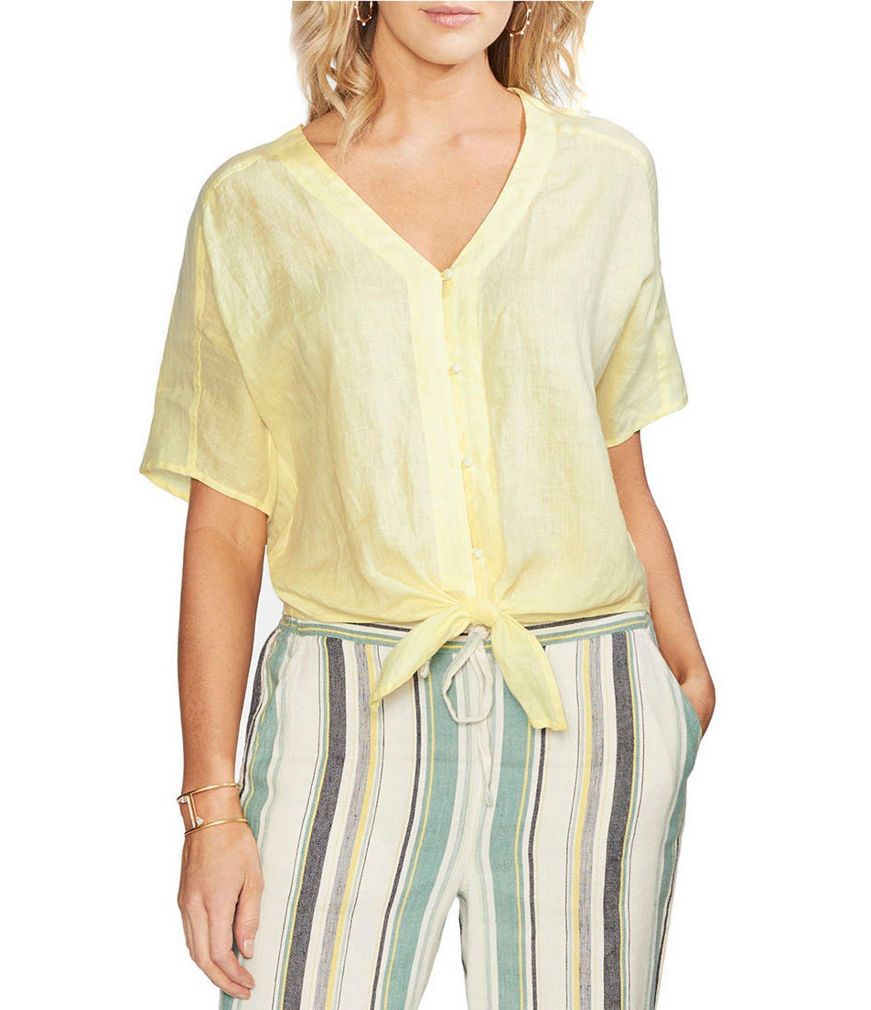 8e50767a8de902 Lyst - Vince Camuto Short Sleeve Button Down Tie Front Blouse in Yellow