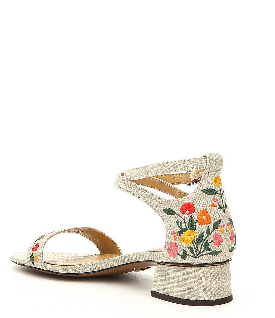 Betha II Floral Embroidered Linen Ankle Strap Block Heel Dress Sandals