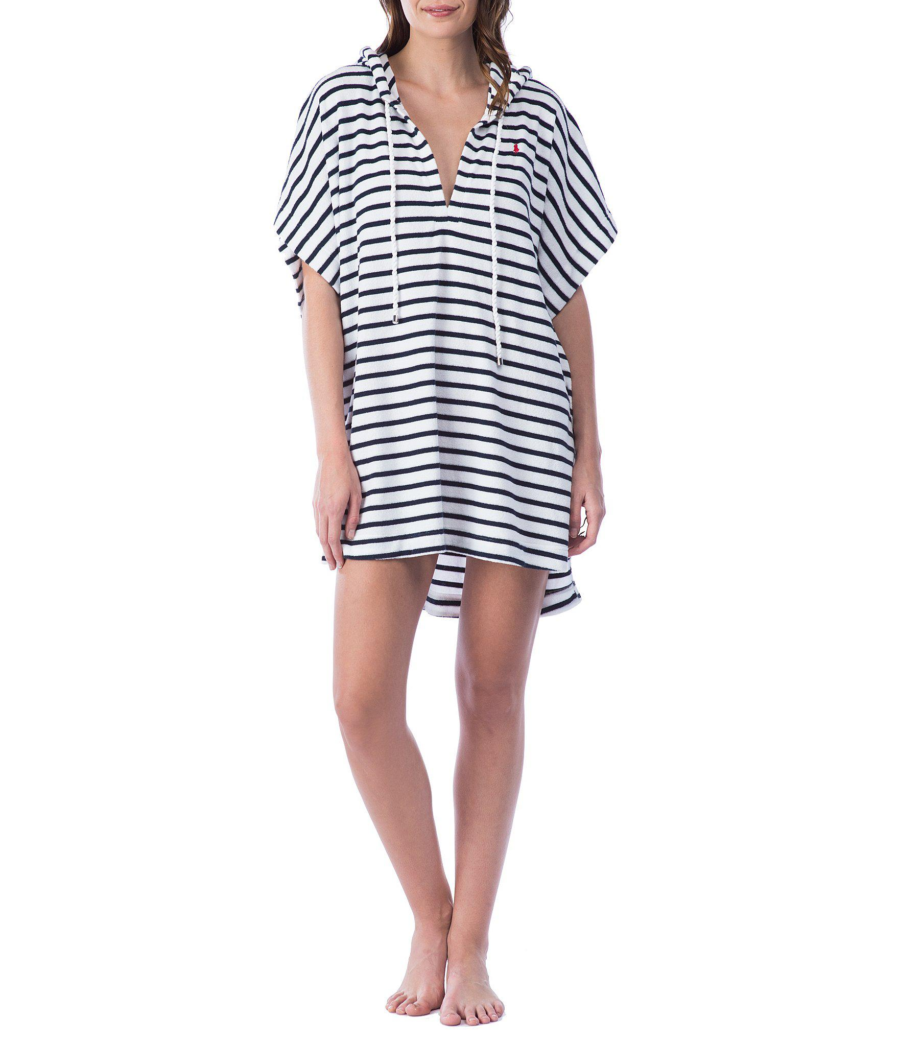 b9ecd25738 Polo Ralph Lauren Embroidered Terry Stripe Hooded Swimsuit Cover-up ...