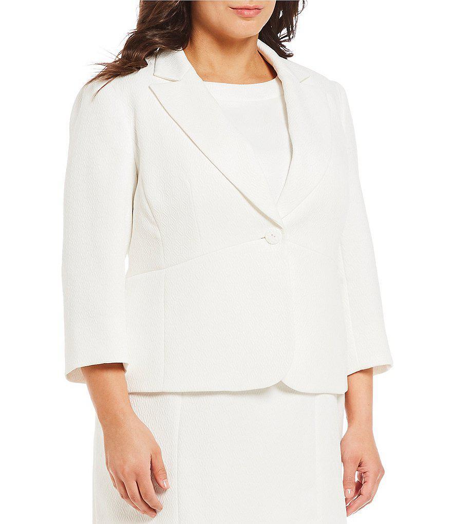 8f54fd06520 Lyst - Kasper Plus Diamond Jacquard Jacket in White