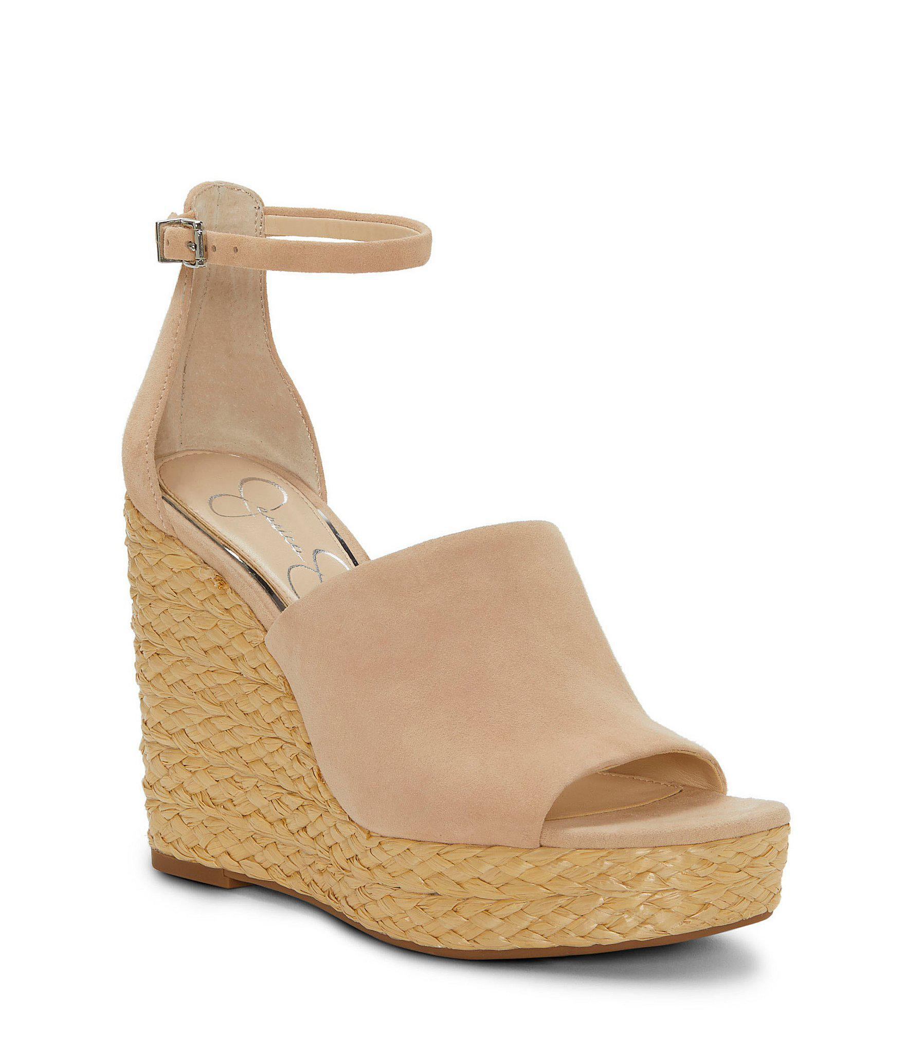 f2d94c25068 Jessica Simpson Suella Suede Leather Raffia Wrap Wedges in Natural ...