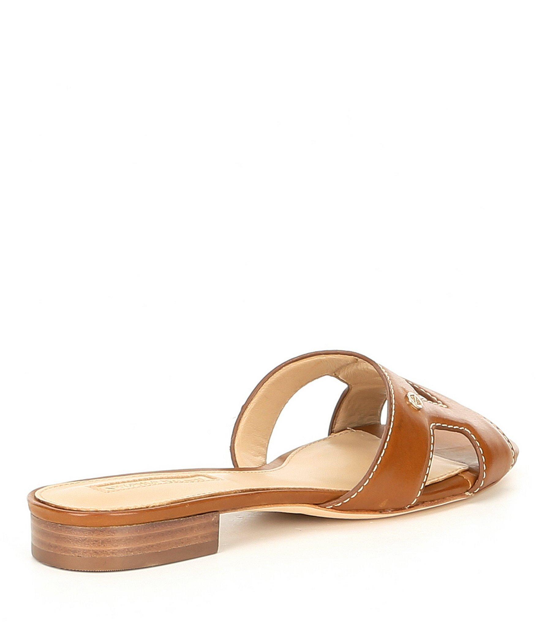6cd229740c26 Lyst - Antonio Melani Carrah Burnished Leather Logo Slide Sandals in ...