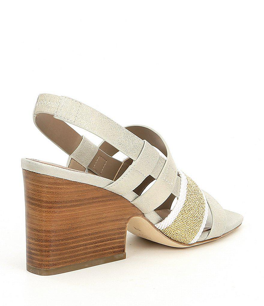 Mae Mesh and Metallic Leather Slingback Block Heel Sandals gSgFCQ