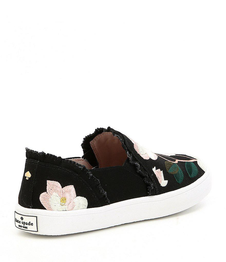 e81026949fdd Lyst - Kate Spade Leonie Floral Embroidery Design Sneakers in Black