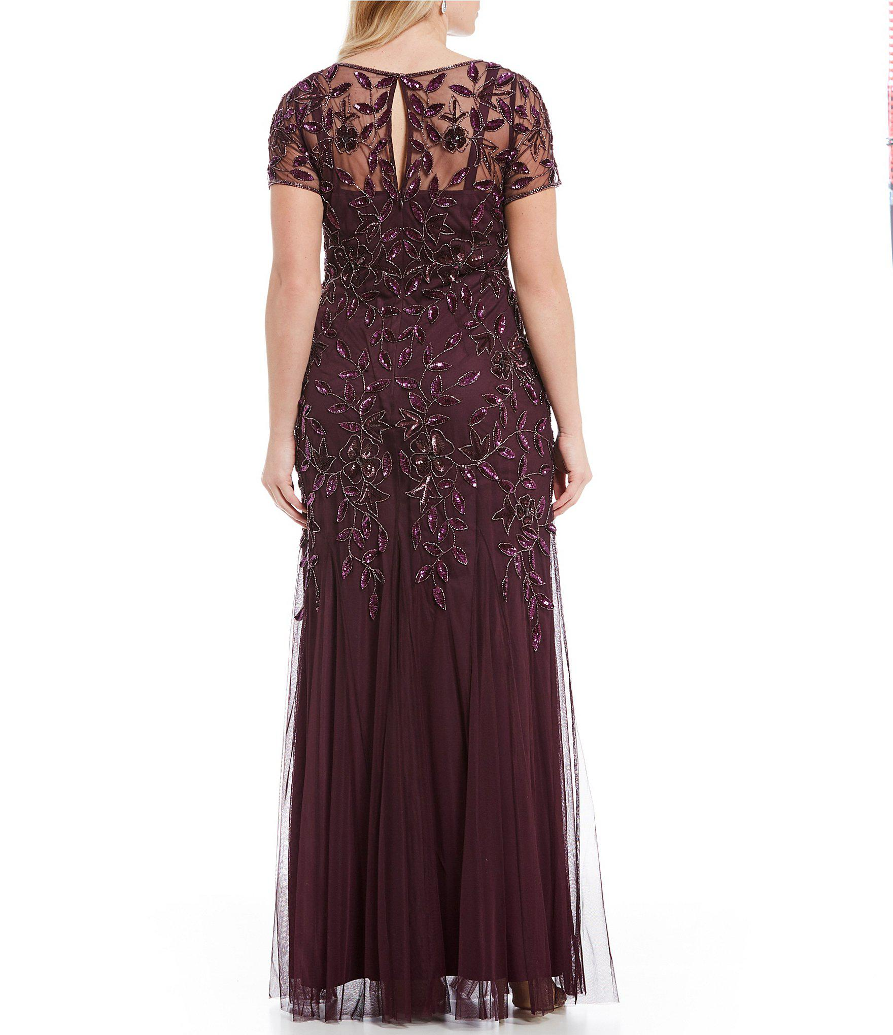 c5b37a121da Adrianna Papell - Purple Plus Floral Beaded Gown - Lyst. View fullscreen