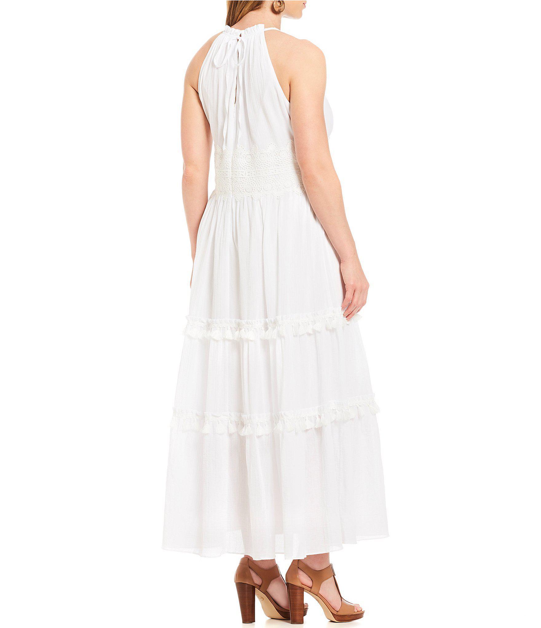 d29a04f4367 Lyst - Eliza J Plus Size Lace Waist Halter Maxi Dress in White