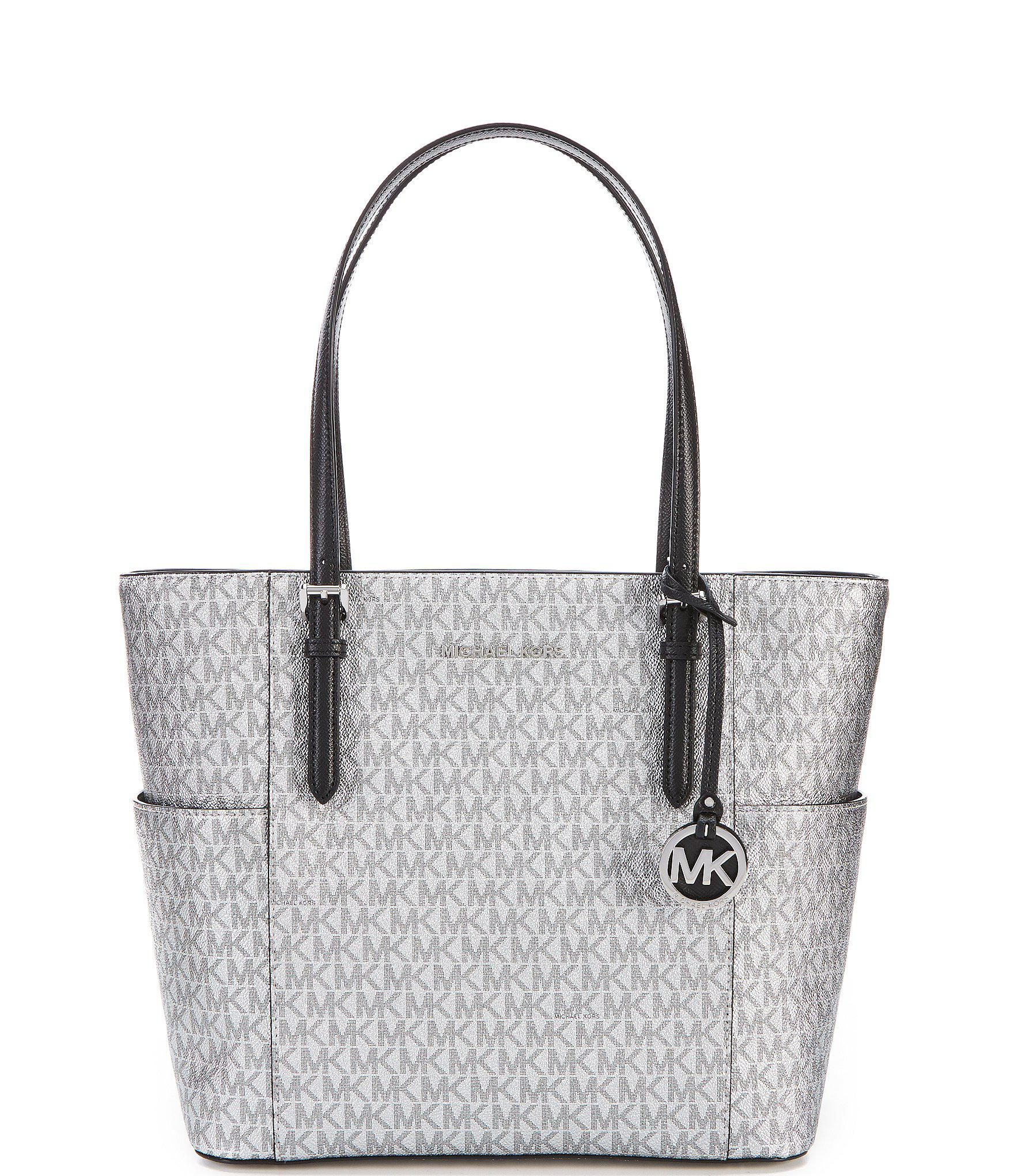 48f40e38fdce ... coupon for lyst michael michael kors jet set signature metallic large  tote in 8e7fd c8d35