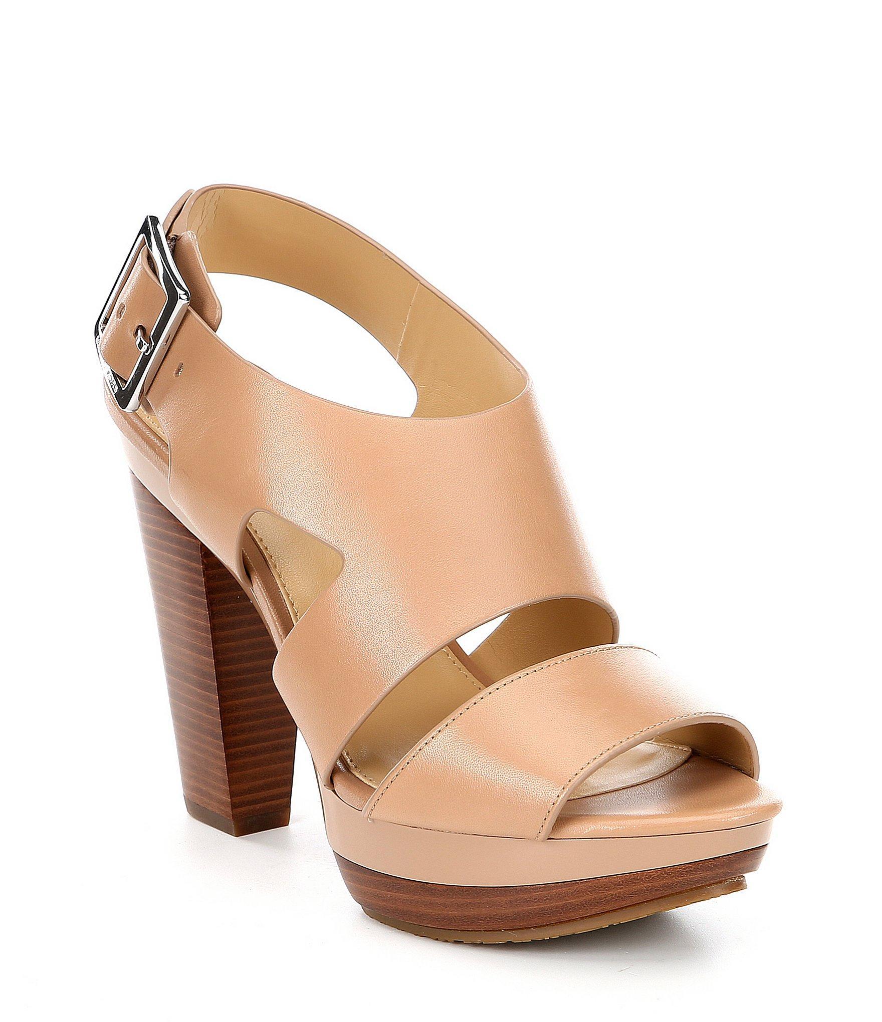 8e9d7a0839c MICHAEL Michael Kors. Women s Brown Carla Leather Platform Block Heel  Sandals