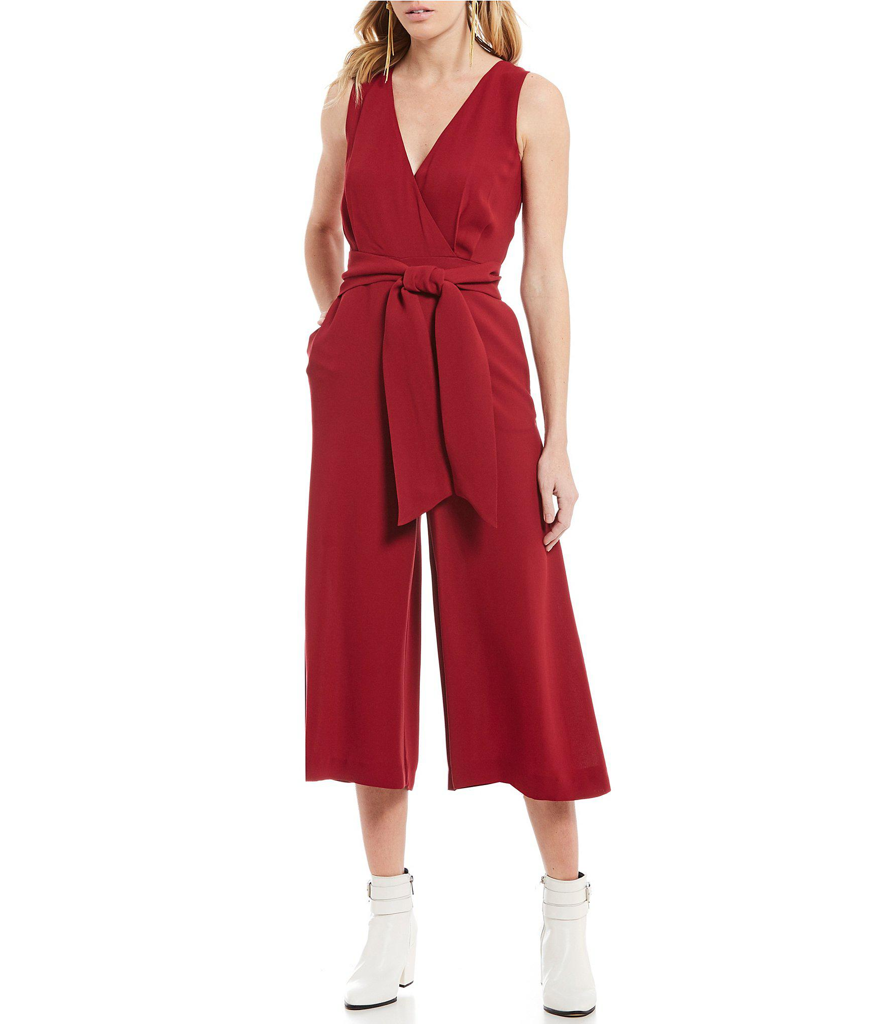 93e3dba18d4 French Connection - Red Bessie Tie Waist Crepe Wide Leg Culotte Jumpsuit -  Lyst. View fullscreen