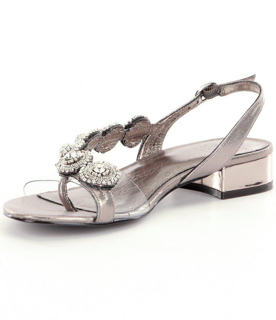 Adrianna Papell Daisy Crystal Medallion Slingback Block Heel Dress Sandals emtwxG