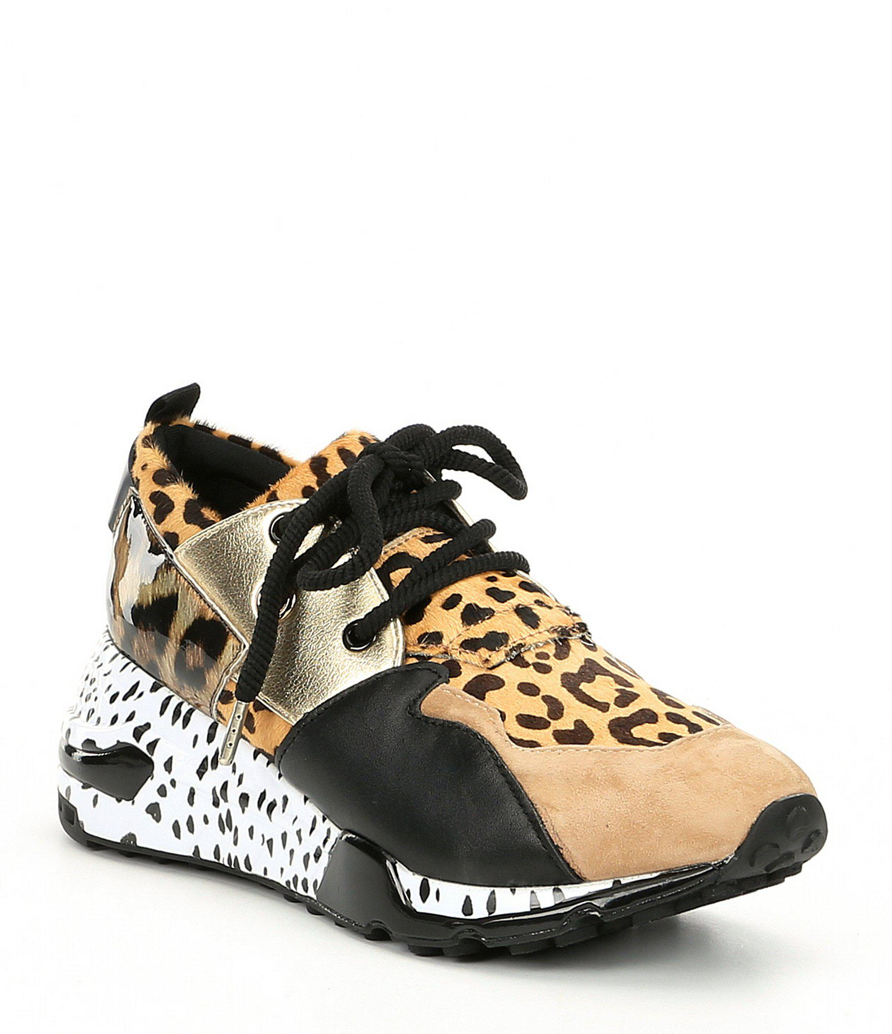 0c3f0a29137 Steve Madden Cliff Leather And Suede Animal Print Sneakers - Lyst