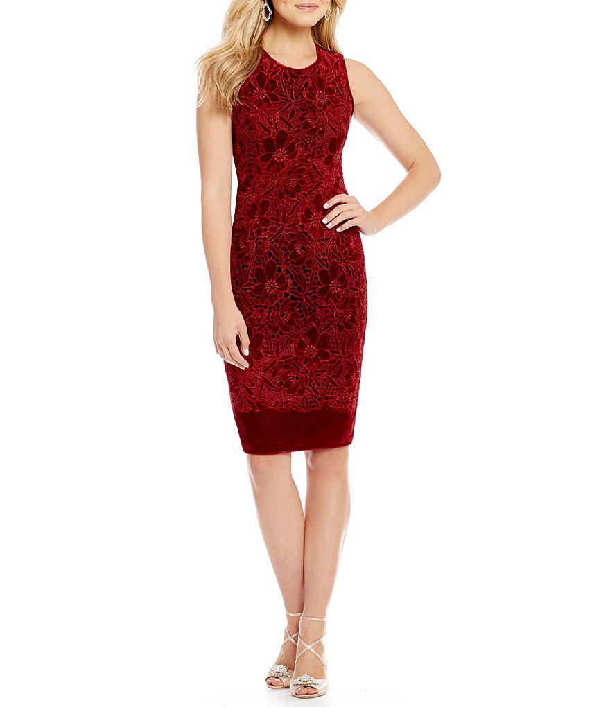 2807d982513 Lyst - Belle By Badgley Mischka Siobhan Floral Velvet Dress in Red