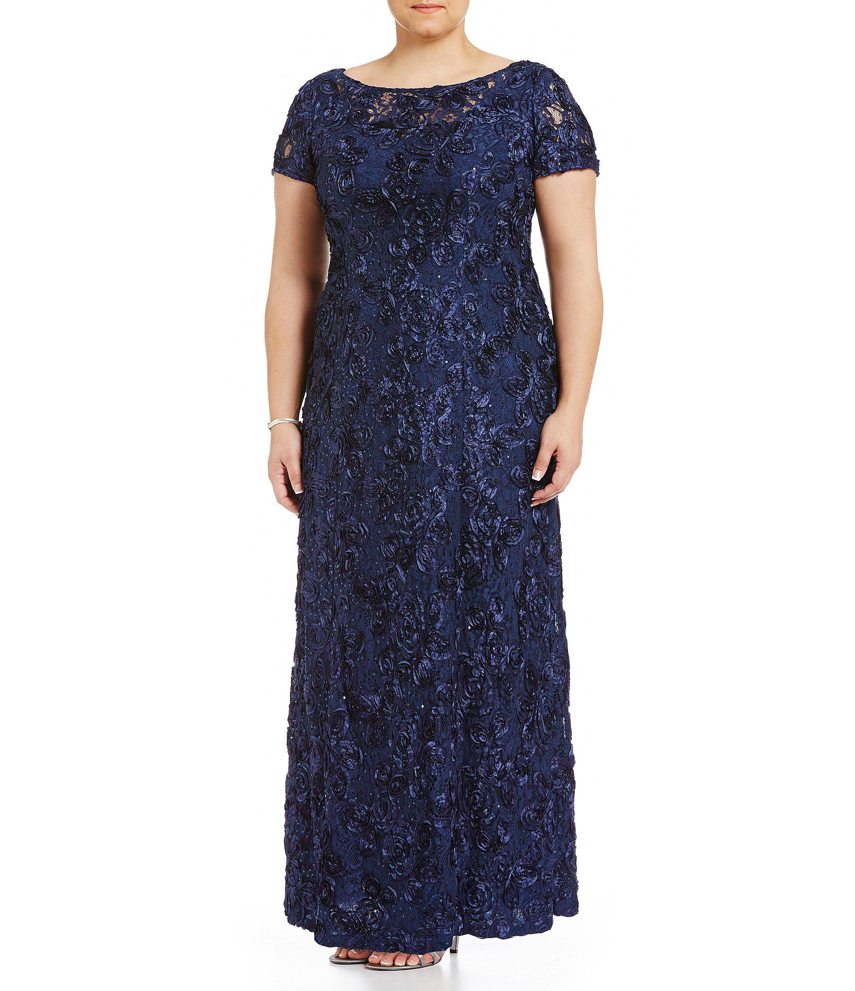 349aee72c8d0 Alex Evenings Plus Size Floral Rosette Short Sleeve A-line Gown in ...