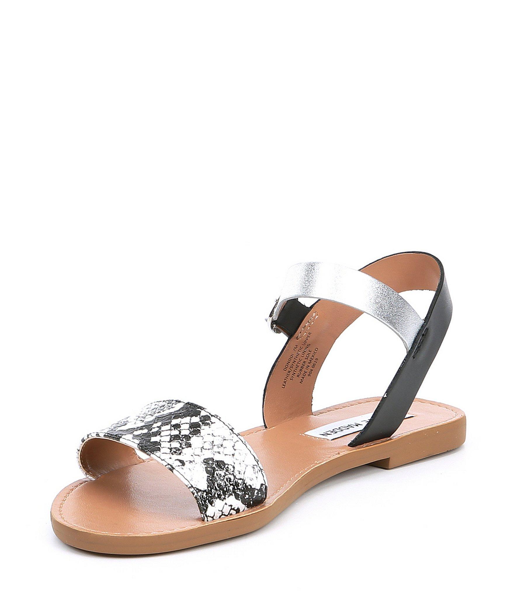 c7677841554 Lyst - Steve Madden Donddi Snake Banded Flat Sandals