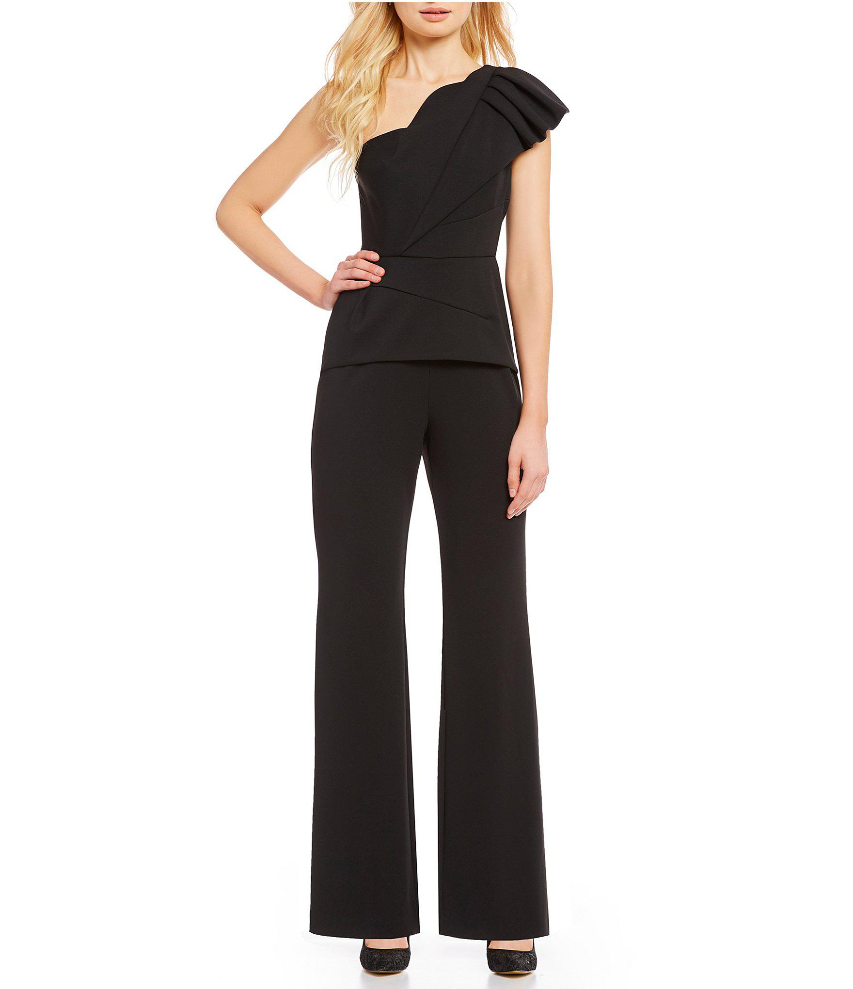 27c32c053f4 Adrianna Papell. Women s Black Petite Size One Shoulder Ruffle Jumpsuit