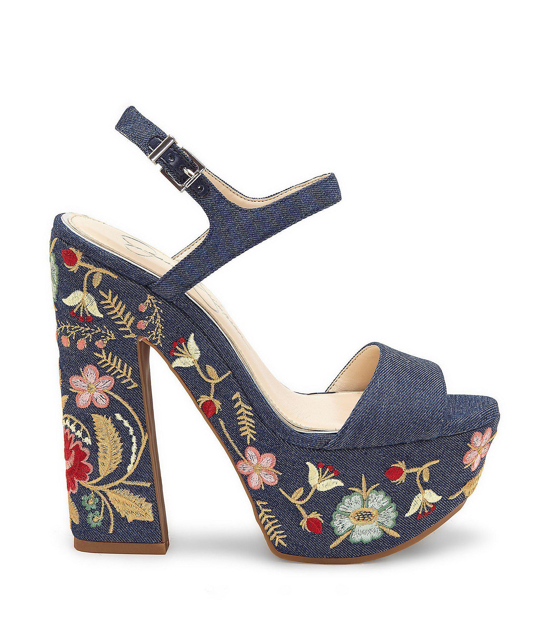 b05682c33663 Lyst - Jessica Simpson Divella2 Denim Floral Platform Sandal in Blue