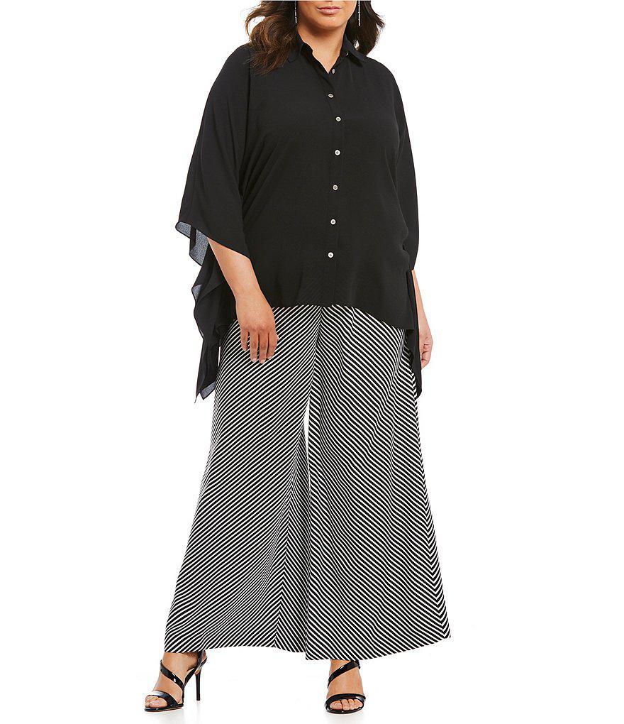 563b7633c76 Lyst - Vince Camuto Plus Diagonal Stripe Wide Leg Pant in Black