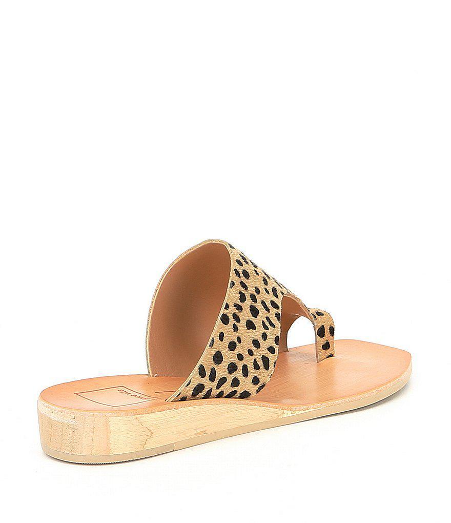 Dolce Vita Hazle Demi Leopard Print Calf Hair Wedge Sandals IZfYTuv3z