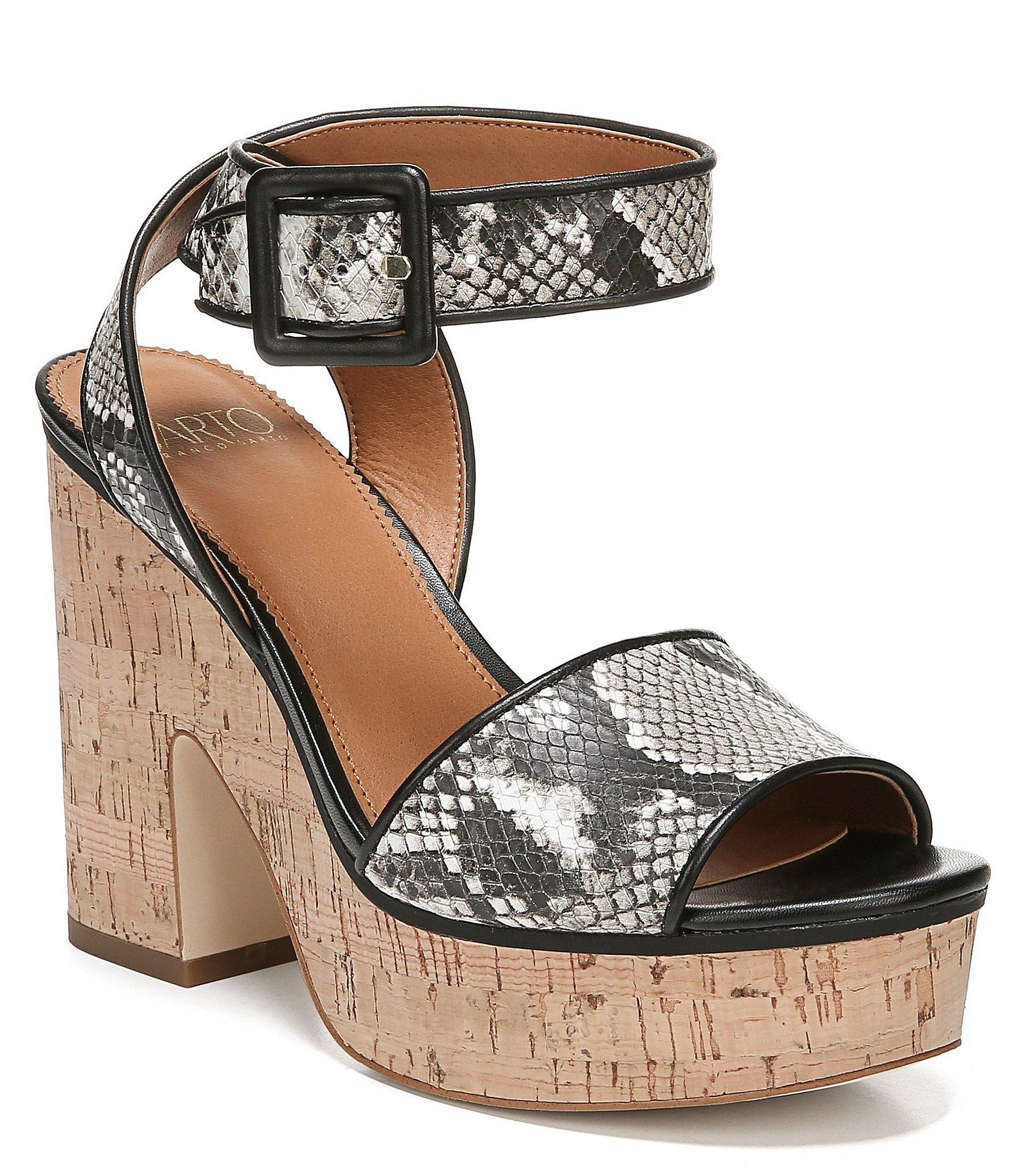 d2c50181a30 Franco Sarto. Women s Black Sarto By Franny Snake Print Cork Block Heel  Sandals