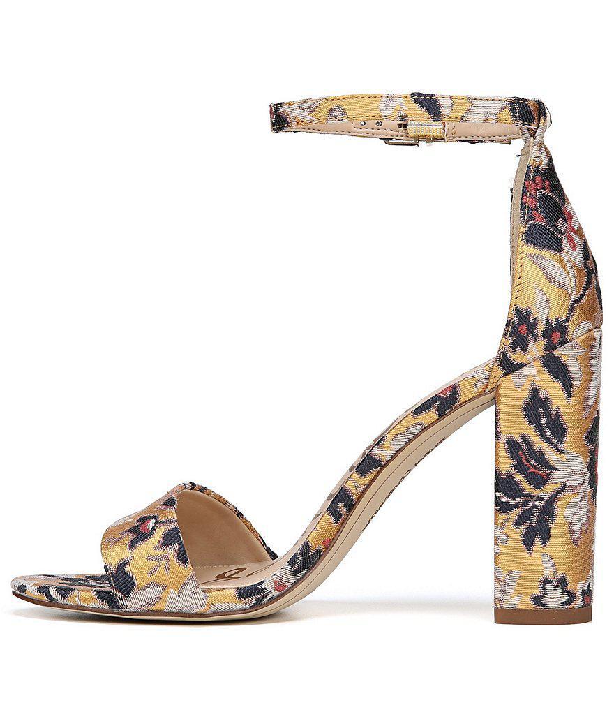 Yaro Floral Jacquard Block Heel Dress Sandals THkP2Z