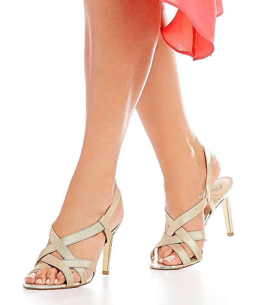 Addie Metallic Strappy Elastic Dress Sandals M9aiD