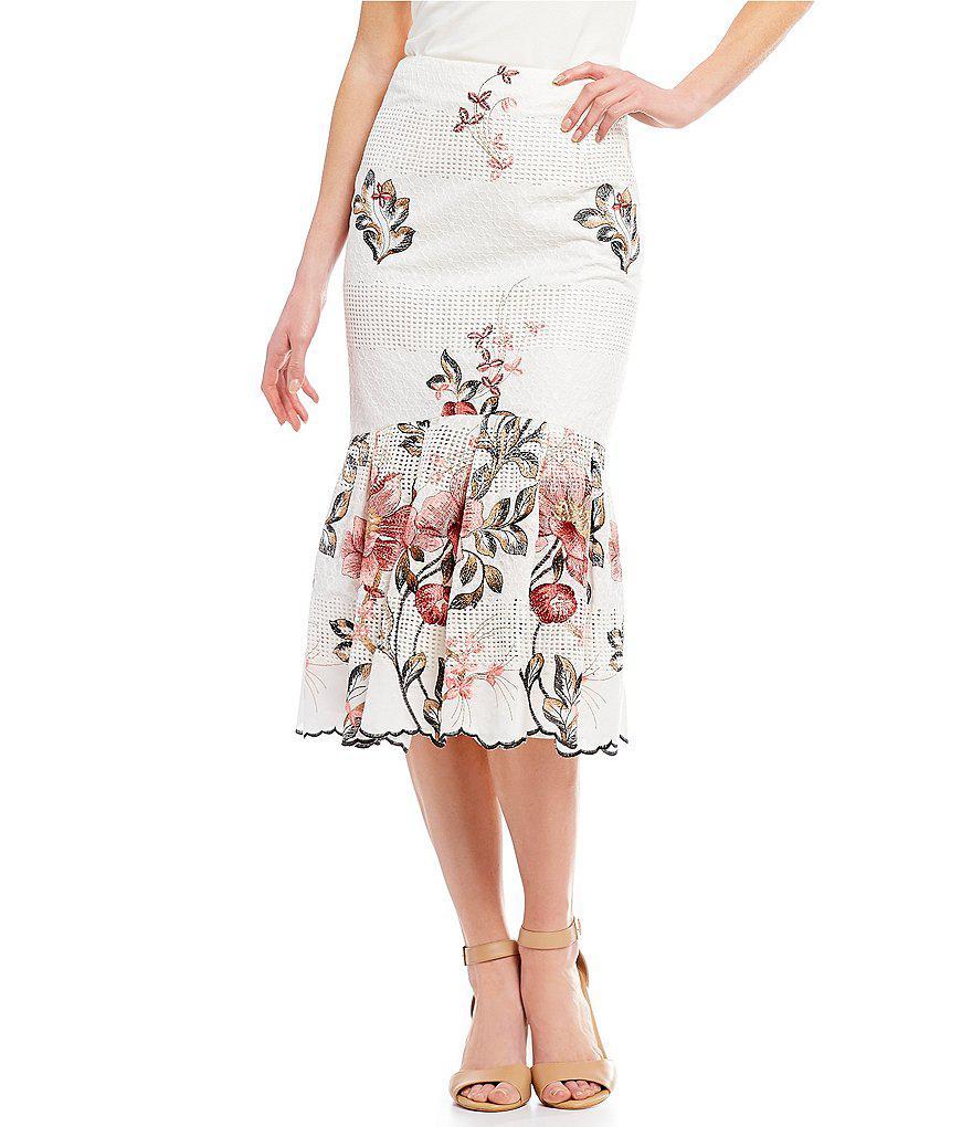 69fcbebddf Antonio Melani Bliss Floral Print Pleated Poplin Midi Skirt - Gomes ...